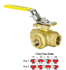 "3-Way Lead Free Brass Ball Valve T-Full Port 1/2"" NPT"