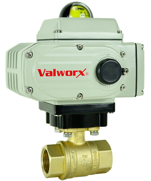 "Electric Actuated LF Brass Ball Valve 3/4"",  110 VAC, EPS Positioner"