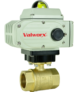 "1-1/2"" Electric Actuated Brass Ball Valve 110 VAC, EPS Positioner"