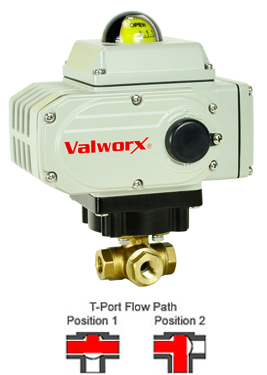 Electric 3-way Lead Free Brass T-Diverter Valve 3/8, 24 VDC