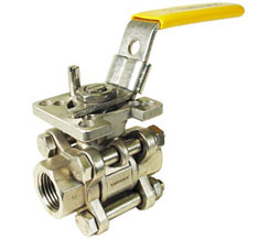 "3/8"" 3-Piece Stainless Ball Valve - Direct Mount"