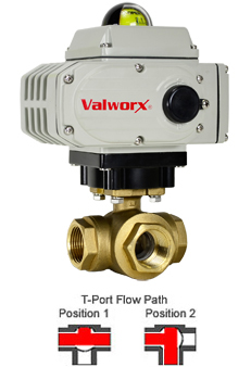 Electric 3-way Lead Free Brass T-Diverter Valve 3/4, 24 VDC