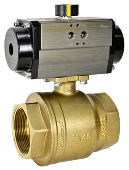 "Air Actuated Lead Free Brass Ball Valve 2-1/2"" - Double Acting"