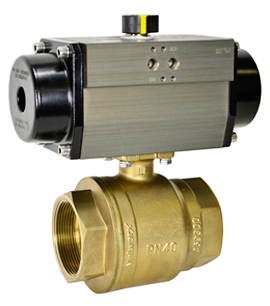 "Air Actuated Lead Free Brass Ball Valve 2-1/2"" - Spring Return"