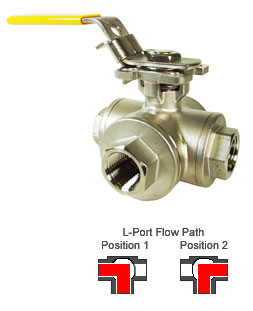 Stainless 3-Way Ball Valves, L-port,  3/8 NPT