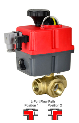 Electric 3-way Lead Free Brass L-Diverter Valve 1-1/4, 24-240V AC/DC