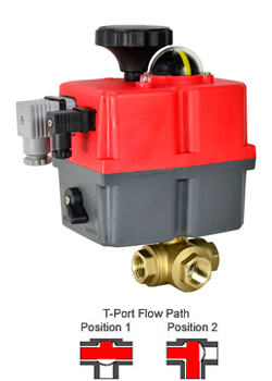 Electric 3-way Lead Free Brass T-Diverter Valve 3/8,24-240V AC/DC
