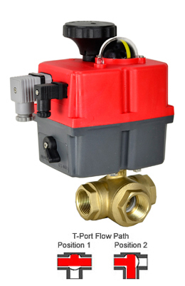Electric 3-way Lead Free Brass T-Diverter Valve 3/4, 24-240V AC/DC
