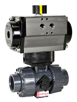 "Air Actuated PVC Ball Valve 1-1/4"" - Double Acting"