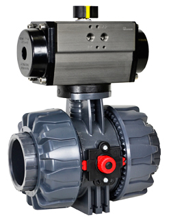Air Actuated PVC Ball Valve 2-1/2 - Double Acting