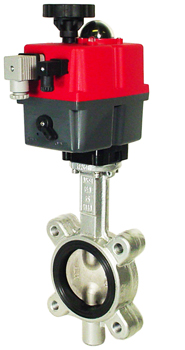 Electric Actuated Butterfly Valve 3 Lug,EPDM,24-240V AC/DC
