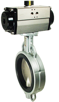 "6"" Air Actuated Butterfly Valve, Wafer, NBR, Double Acting"