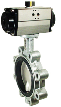 Air Actuated Butterfly Valve 6 Lug,FPM,Double Acting