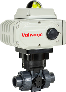 """Electric Actuated PVC Ball Valve 1/2"""",  110 VAC, EPS Positioner"""