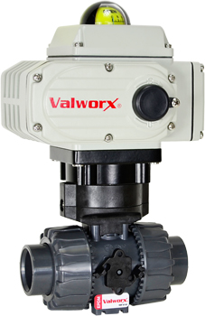 Electric Actuated PVC Ball Valve 1-1/4,  110 VAC, EPS Positioner