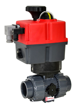 "Electric Actuated Ball Valve PVC/EPDM 1-1/4"", 24-240V AC/DC"