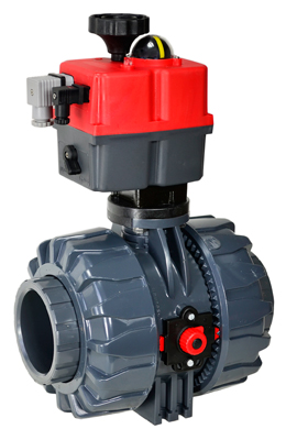 """Electric Actuated Ball Valve PVC/EPDM 2-1/2"""", 24-240V AC/DC"""