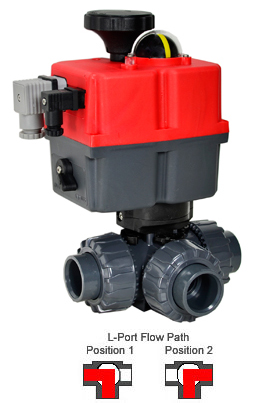 Electric 3-way L-Port PVC Ball Valve PTFE/EPDM 1-1/4, 24-240V AC/DC