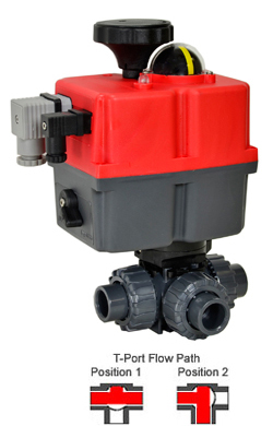 Electric 3-way T-Port PVC Ball Valve PTFE/EPDM 3/4, 24-240V AC/DC