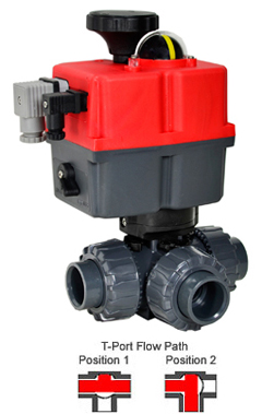 Electric 3-way T-Port PVC Ball Valve PTFE/EPDM 1-1/4, 24-240V AC/DC