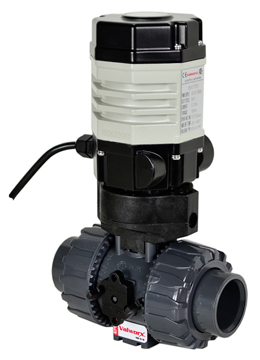 "Compact Electric Actuated PVC Ball Valve PTFE/EPDM 3/4"", 110 VAC"