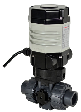"Compact Electric Actuated PVC Ball Valve 1/2"", 110 VAC, EPS Positioner"