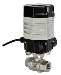 "Compact Electric Actuated Stainless Ball Valve 1/4"", 110 VAC"