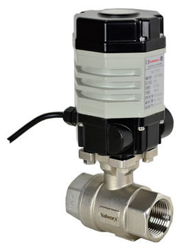 "Compact Electric Actuated Stainless Ball Valve 1/2"", 110 VAC"