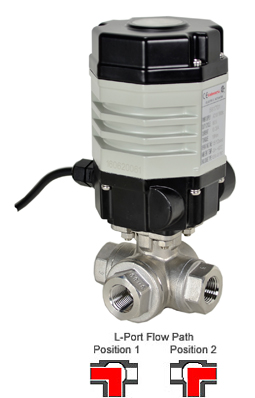 Compact Electric 3-Way Stainless L-Diverter Valve 3/8, 24 VDC