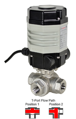Compact Electric 3-Way Stainless T-Diverter Valve 1/4, 24 VAC