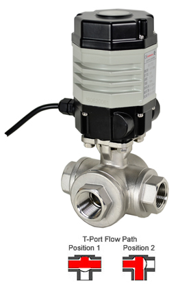 Compact Electric 3-Way Stainless T-Diverter Valve 1/2, 24 VAC