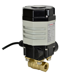 "1/4"" Compact Electric Actuated Brass Ball Valve 110 VAC"