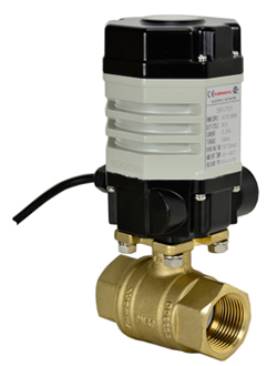 "Compact Electric Actuated Lead Free Brass Ball Valve 1-1/4"", 110 VAC"