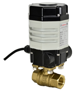 "Compact Electric Actuated Lead Free Brass Ball Valve 3/8"", 24 VDC"