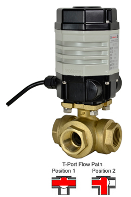 Compact Electric 3-way Lead Free Brass T-Diverter Valve 3/4, 24 VAC