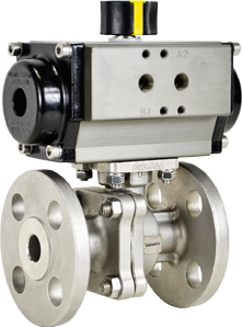 """1/2"""" Air Actuated 150# Flanged SS Ball Valve - Spring Return"""