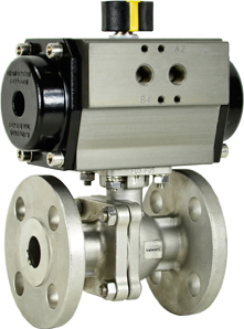 """3/4"""" Air Actuated 150# Flanged SS Ball Valve - Spring Return"""