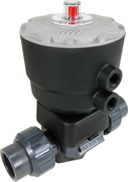 "1/2"" Air Actuated PVC Diaphragm Valve - Spring Return/EPDM Diaphragm"