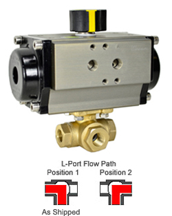 "1/4"" Air Actuated 3-Way Brass L-Diverter Valve, SR"