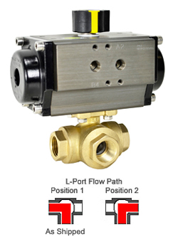 "1/2"" Air Actuated 3-Way Brass L-Diverter Valve, DA"