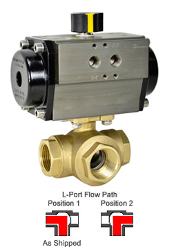 "3/4"" Air Actuated 3-Way Brass L-Diverter Valve, SR"