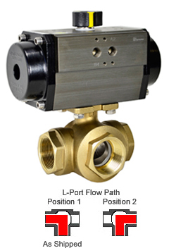 "1-1/2"" Air Actuated 3-Way Brass L-Diverter Valve, DA"