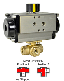 "Air Actuated 3-Way Lead Free Brass T-Diverter Valve 1/4"", DA"