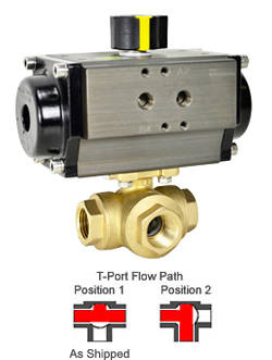 "1/2"" Air Actuated 3-Way Brass T-Diverter Valve, DA"