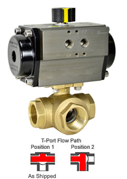 "1-1/4"" Air Actuated 3-Way Brass T-Diverter Valve, SR"