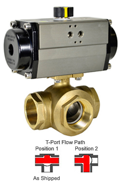"1-1/2"" Air Actuated 3-Way Brass T-Diverter Valve, SR"