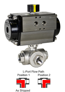 Air Actuated 3-Way SS L-Port Valve 1/2,Double Acting