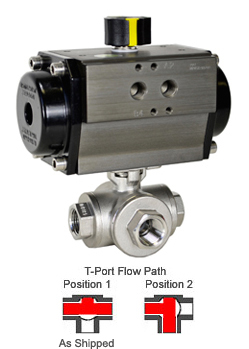 Air Actuated 3-Way SS T-Port Ball Valve 3/4,Double Acting