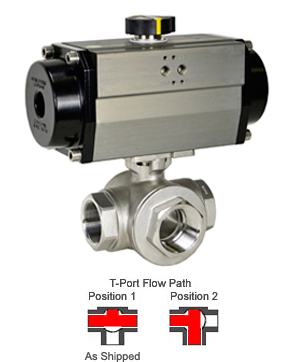 Air Actuated 3-Way SS T-Port Ball Valve 2,Spring Return