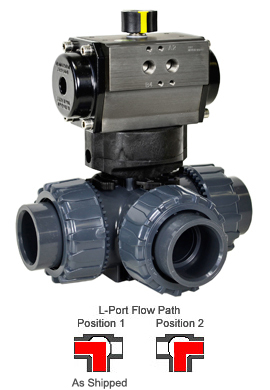 "Air Actuated 3-Way L-port PVC Ball Valve 1-1/2"" - Double Acting"